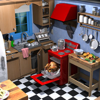 cartoon kitchen 3d fbx