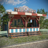 old funfair shooting gallery 3d model