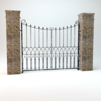 3d model old worn gate