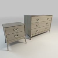 3d whitewashed dresser nightstand