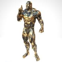 3d sculpture black gold warning model