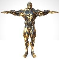 3d sculpture black gold t-pose