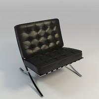 leather knoll barcalona chair 3d fbx