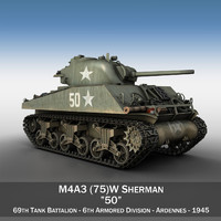 m4a3 sherman - 75mm 3d c4d