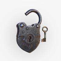 3d model old padlock key