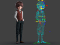cartoon boy rigged 3d model