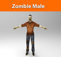 3d zombie male character model