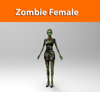 3d model zombie female character