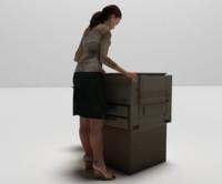 printer girl 3d model