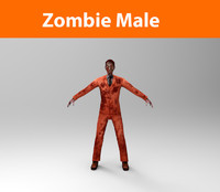 zombie male character 3d obj