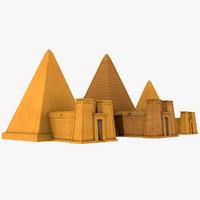 3d model sudanese nubian pyramids