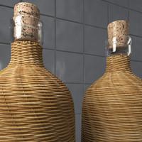 wicker bottles 3d model