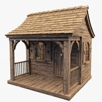 3d max house wood wooden