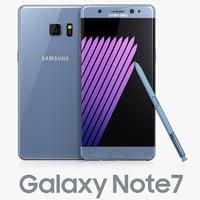 3d samsung galaxy note7 blue model