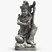 bali girl guard statue 3d model