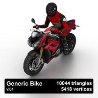 generic sport bike biker 3d obj