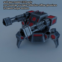3d model scifi gun