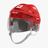 hockey helmet detroit red 3d model