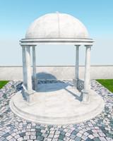 3d pergola stone p01