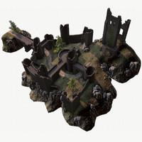 3d model medieval castle ruins