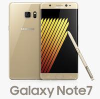 3d samsung galaxy note7 gold