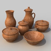 clay dishes set 3d max