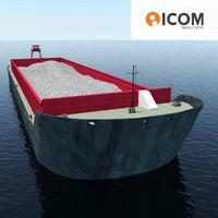 3d obj barge loaded sand