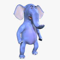 3d model elephant cartoon character rig