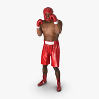 african american boxer red 3d obj