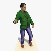 realistically european man green 3d model