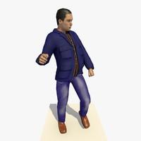 3d model realistically european man blue