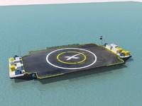 3d autonomous spaceport drone ship model