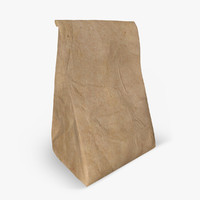 3d paper bag meal model