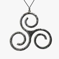 3d model of triskel jewelry pendant