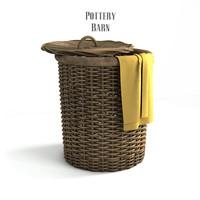 3d pottery barn perry wicker basket model