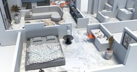apartment interior floorplan 3d model