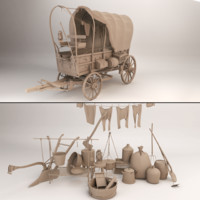 covered wagon 3d x