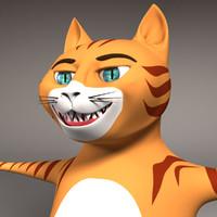 cat feline 3d obj