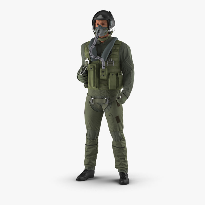 US Military Jet Fighter Pilot Rigged vray 3dsmax 3d model 000.jpg