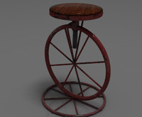 3d kitsch shabby chic bar stool model