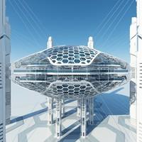 futuristic architectural 3d model