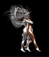 statue angel demon 3d obj