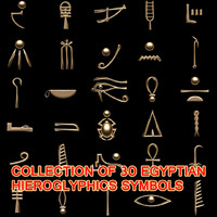 3d egyptian hieroglyphics symbols model