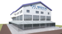 3d hospital factory building model