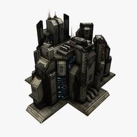 sci-fi city structure 2 3ds