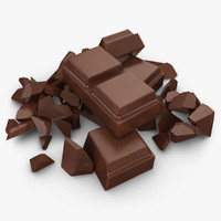3d realistic broken chocolate bar model