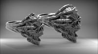 3d skull ring wedding stl model