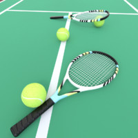 3d model tennis ball racket