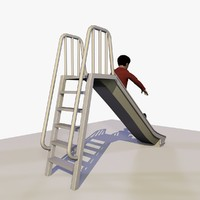 3d model of african boy playing slide