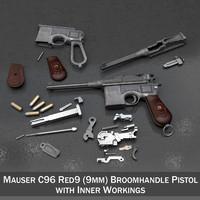 mauser c96 broomhandle - 3d c4d